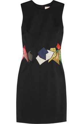 CHRISTOPHER KANE Mesh-paneled crepe mini dress