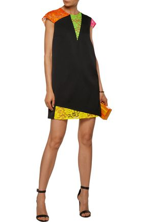 CHRISTOPHER KANE Neon corded lace-trimmed crepe mini dress