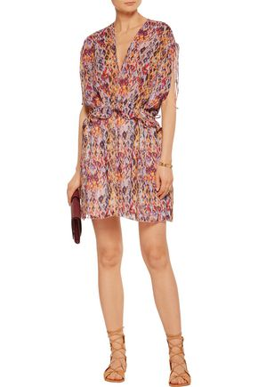 IRO Plum printed voile mini dress