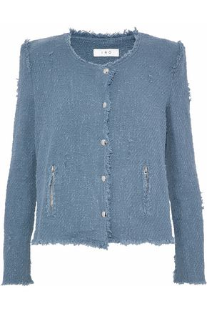 IRO Frayed cotton bouclé-tweed jacket