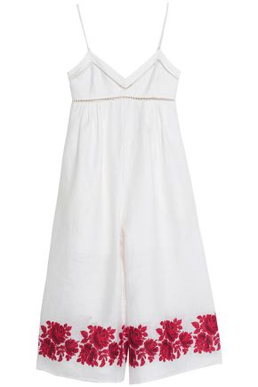 ZIMMERMANN Open knit-trimmed embroidered linen jumpsuit