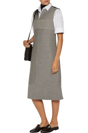 JIL SANDER Woven cotton and wool-blend dress