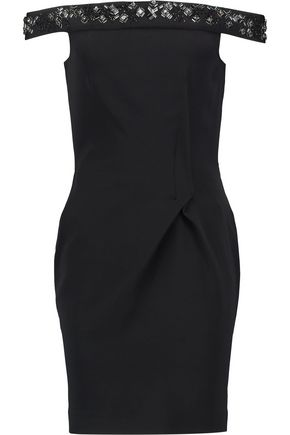 ROLAND MOURET Barnabus off-the-shoulder embellished crepe mini dress