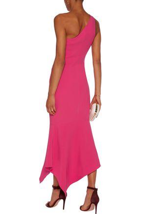 CINQ À SEPT Dulcina one-shoulder fluted crepe midi dress
