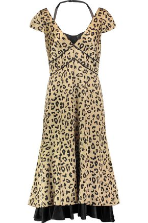 CINQ À SEPT Cypress leopard-print silk-satin midi dress