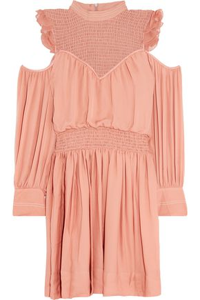CINQ À SEPT Shahla cold-shoulder ruffled silk mini dress