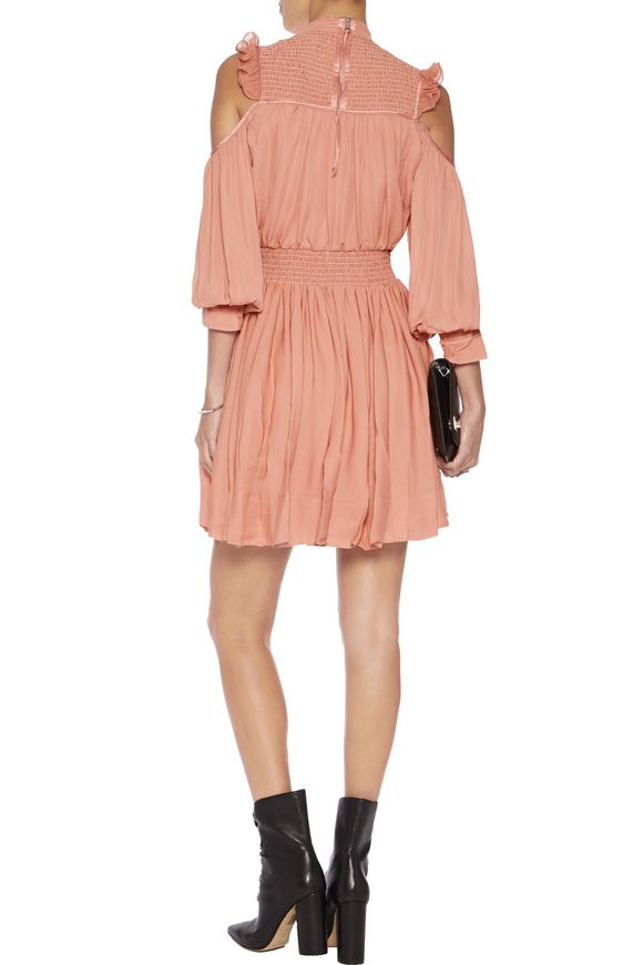 Shahla cold-shoulder ruffled silk mini dress   CINQ À SEPT   Sale up to 70%  off   THE OUTNET