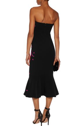 CINQ À SEPT Luna strapless embroidered faille midi dress