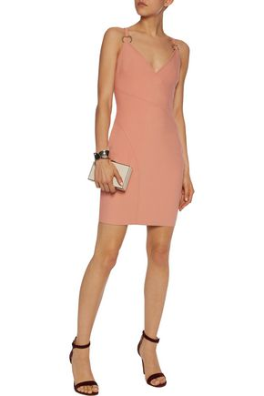 CINQ À SEPT Eden ring-embellished stretch-crepe mini dress