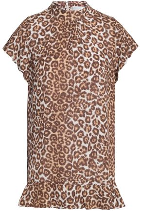 ZIMMERMANN Ruffled leopard-print jersey top