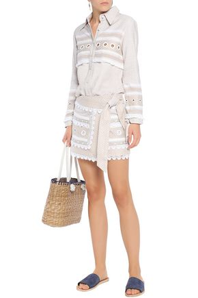 DODO BAR OR Two-tone fringe-trimmed embellished embroidered cotton top