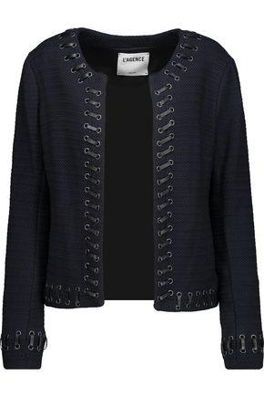 L'AGENCE Devereaux faux leather whipstitch-trimmed bouclé jacket