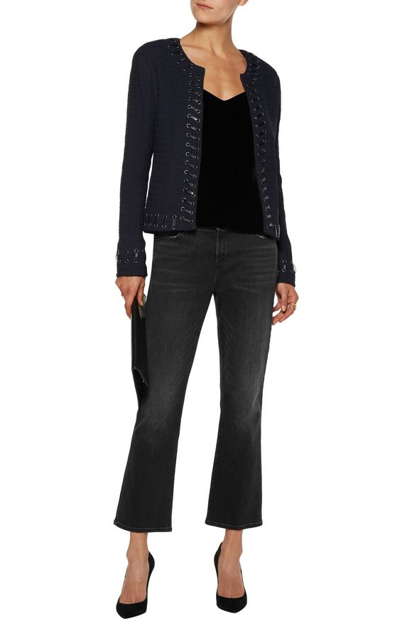 Devereaux faux leather whipstitch-trimmed bouclé blazer   L'AGENCE   Sale up  to 70% off   THE OUTNET
