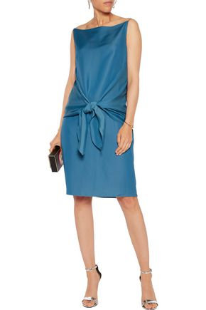 NINA RICCI Tie-front sateen-crepe dress