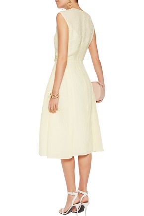 NINA RICCI Embellished appliquéd silk-blend cloqué midi dress