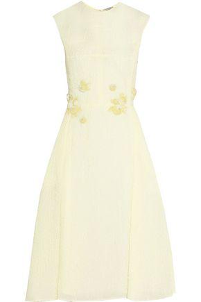 NINA RICCI Embellished appliquéd silk-blend cloqué midi dress