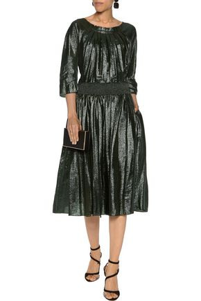 NINA RICCI Pleated lamé dress