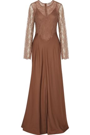 NINA RICCI Lace-paneled satin gown