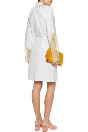 NINA RICCI Corded lace-paneled cotton-poplin shirt
