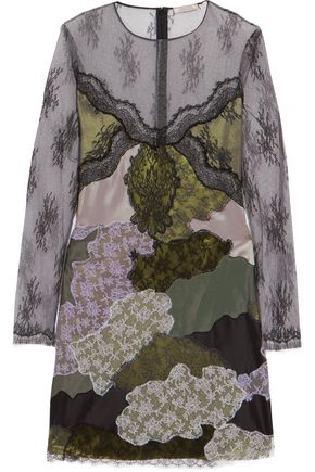 NINA RICCI Satin-paneled embroidered lace dress