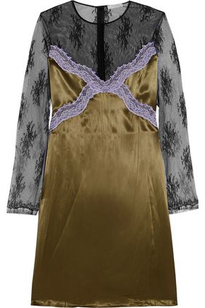 NINA RICCI Embroidered-lace and satin dress