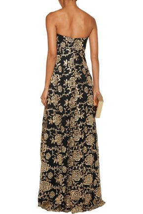 MIKAEL AGHAL Strapless embroidered tulle gown