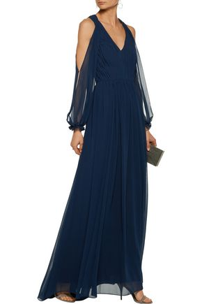 MIKAEL AGHAL Cutout pleated chiffon gown