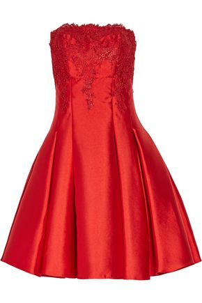 MIKAEL AGHAL Strapless pleated lace and duchesse satin-twill mini dress