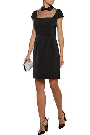 MIKAEL AGHAL Mesh-paneled crepe dress