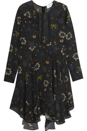 A.L.C. Lace-paneled printed silk-crepe mini dress