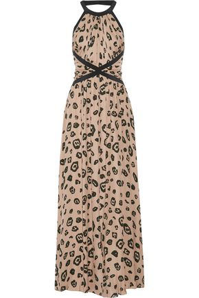 L'AGENCE Marvella open-back ruched  leopard-print silk crepe de chine maxi dress