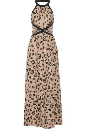 L'AGENCE Marvella open-back ruched  leopard-print silk crepe de chine maxi dress