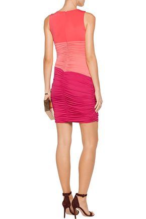 HALSTON HERITAGE Color-block cutout ruched stretch-jersey mini dress
