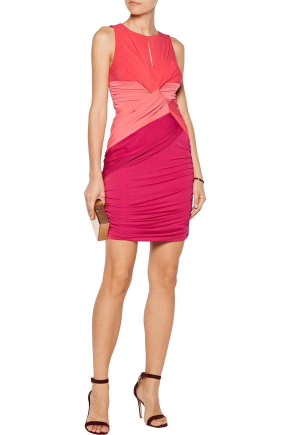 Color-block cutout ruched stretch-jersey mini dress | HALSTON HERITAGE | Sale  up to 70% off | THE OUTNET
