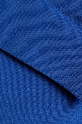 BADGLEY MISCHKA Cold-shoulder wrap-effect ribbed-knit dress
