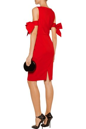 BADGLEY MISCHKA Cold-shoulder bow-detailed crepe dress