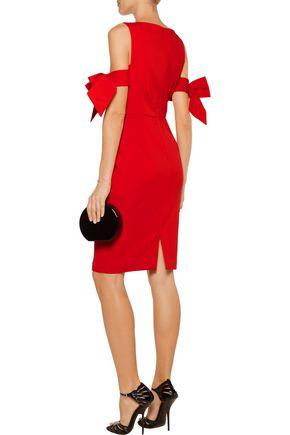 BADGLEY MISCHKA Bow-embellished stretch-cady dress
