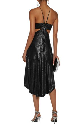 HALSTON HERITAGE Cutout sequined crepe mini dress