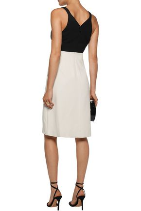 HALSTON HERITAGE Two-tone cutout cady dress