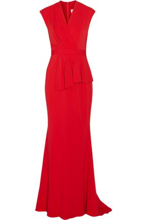 BADGLEY MISCHKA Pleated wrap-effect cady gown