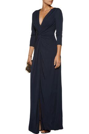 BADGLEY MISCHKA Twist crepe gown