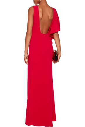 BADGLEY MISCHKA Open-back ruffled cady gown