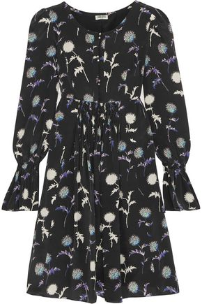 KENZO Floral-print crepe de chine mini dress