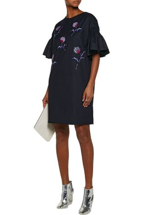 KENZO Smocked embroidered wool mini dress