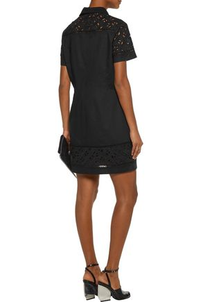 KENZO Pointelle-trimmed broderie anglaise-paneled cotton mini dress
