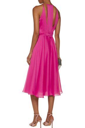 HALSTON HERITAGE Cutout embellished georgette midi dress