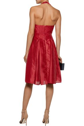 HALSTON HERITAGE Pleated jacquard halterneck dress