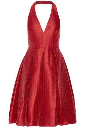 HALSTON HERITAGE Pleated jacquard halterneck dress