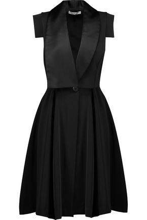 HALSTON HERITAGE Satin-trimmed pleated satin-cady dress