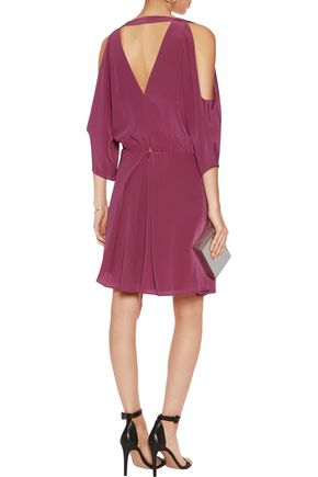 MICHELLE MASON Cold-shoulder silk mini dress